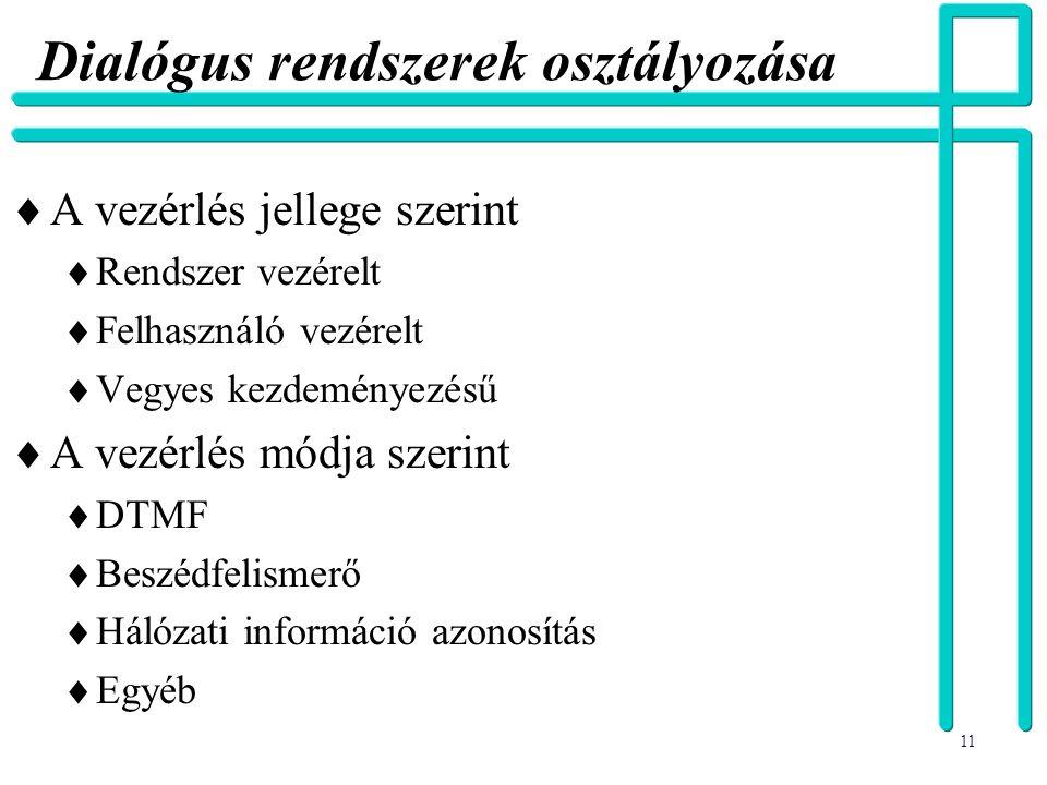 11 Dialógus rendszerek osztályozása  A vezérlés jellege szerint  Rendszer vezérelt  Felhasználó vezérelt  Vegyes kezdeményezésű  A vezérlés módja