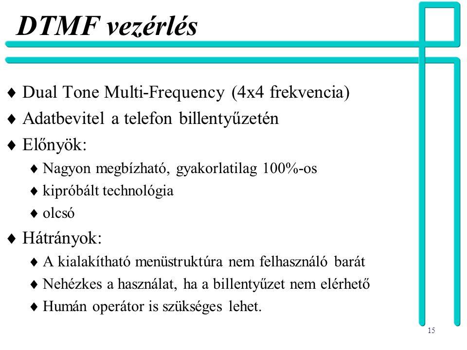 15 DTMF vezérlés  Dual Tone Multi-Frequency (4x4 frekvencia)  Adatbevitel a telefon billentyűzetén  Előnyök:  Nagyon megbízható, gyakorlatilag 100