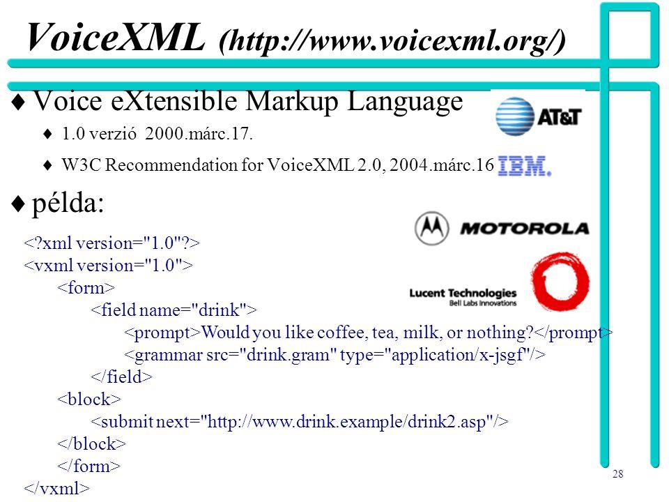 28 VoiceXML (http://www.voicexml.org/)  Voice eXtensible Markup Language  1.0 verzió 2000.márc.17.  W3C Recommendation for VoiceXML 2.0, 2004.márc.