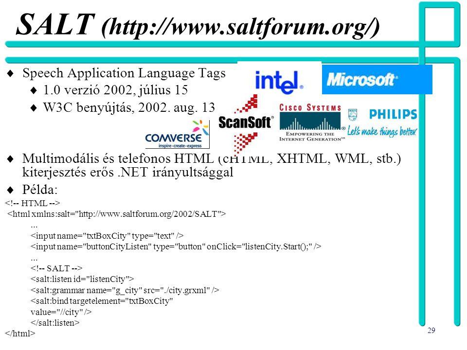 29 SALT (http://www.saltforum.org/)  Speech Application Language Tags  1.0 verzió 2002, július 15  W3C benyújtás, 2002. aug. 13  Multimodális és t