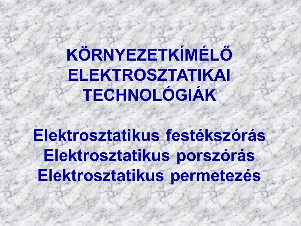 KÖRNYEZETVÉDŐ ELEKTROTECHNOLÓGIÁK Elektrosztatikus porleválasztás Elektrosztatikus cseppleválasztás Elektrosztatikus pernyeleválasztás