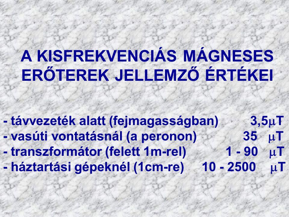 A KISFREKVENCIÁS MÁGNESES ERŐTEREK JELLEMZŐ ÉRTÉKEI - távvezeték alatt (fejmagasságban) 3,5  T - vasúti vontatásnál (a peronon) 35  T - transzformátor (felett 1m-rel) 1 - 90  T - háztartási gépeknél (1cm-re) 10 - 2500  T