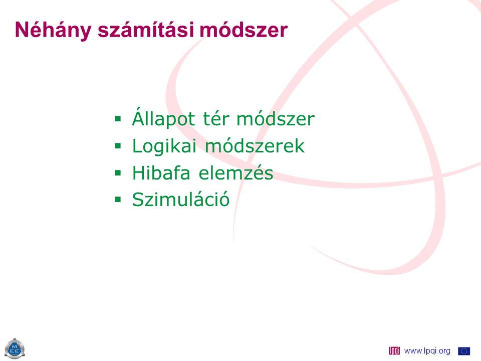www.lpqi.org Néhány számítási módszer  Állapot tér módszer  Logikai módszerek  Hibafa elemzés  Szimuláció
