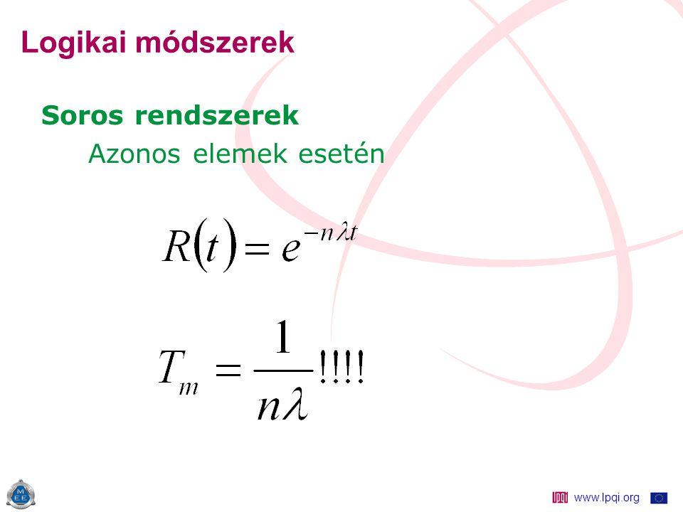 www.lpqi.org Logikai módszerek Soros rendszerek Azonos elemek esetén