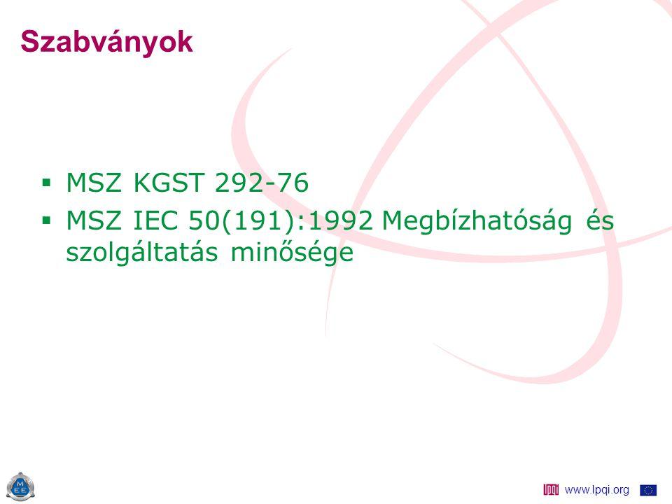 www.lpqi.org Szabványok  MSZ KGST 292-76  MSZ IEC 50(191):1992 Megbízhatóság és szolgáltatás minősége