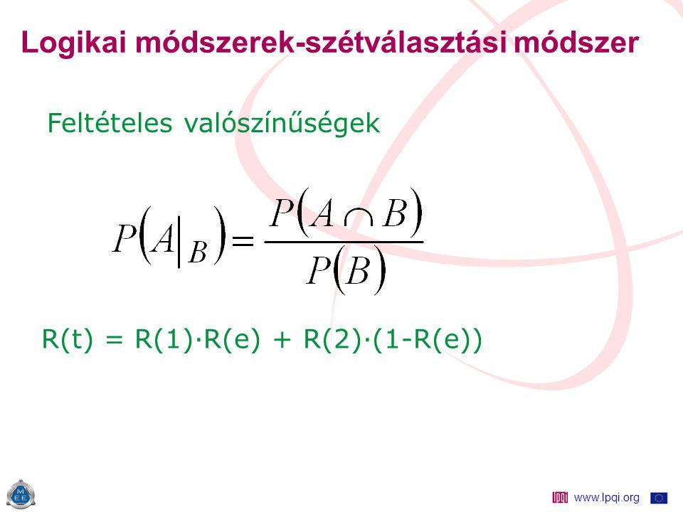 www.lpqi.org Logikai módszerek-szétválasztási módszer R(t) = R(1)·R(e) + R(2)·(1-R(e)) Feltételes valószínűségek