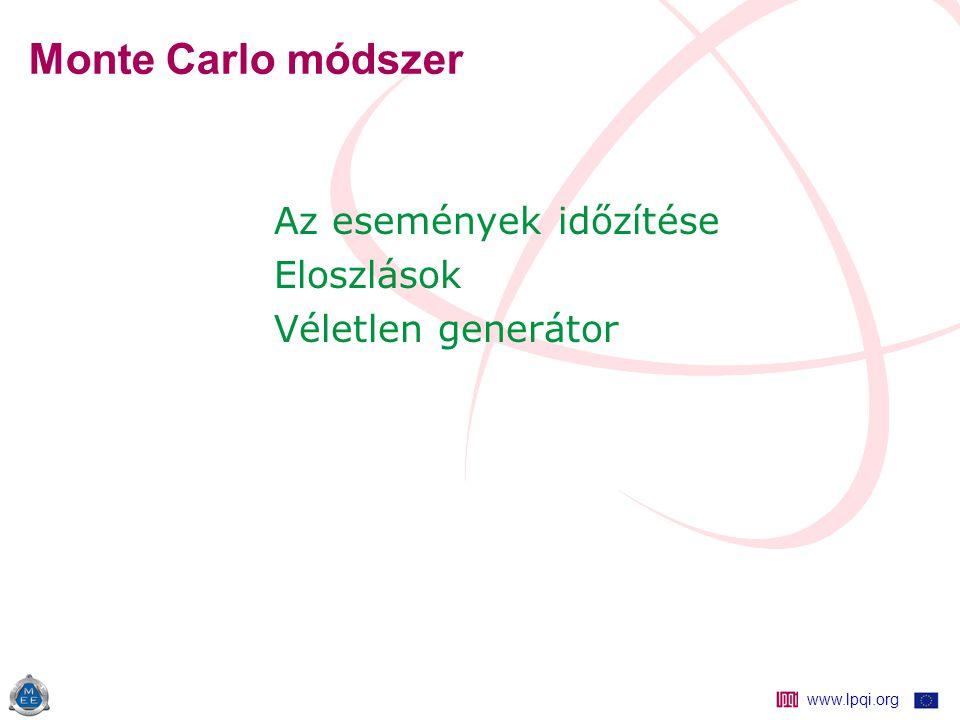 www.lpqi.org Monte Carlo módszer Az események időzítése Eloszlások Véletlen generátor