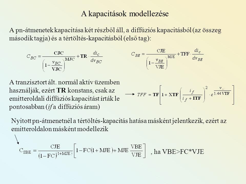 A kapacitások modellezése A pn-átmenetek kapacitása két részből áll, a diffúziós kapacitásból (az összeg második tagja) és a tértöltés-kapacitásból (e