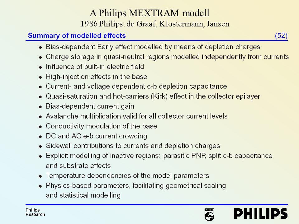1986 Philips: de Graaf, Klostermann, Jansen A Philips MEXTRAM modell