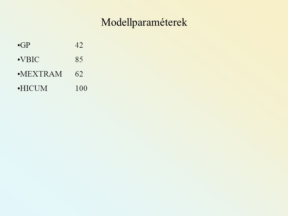 GP42 VBIC 85 MEXTRAM 62 HICUM100 Modellparaméterek