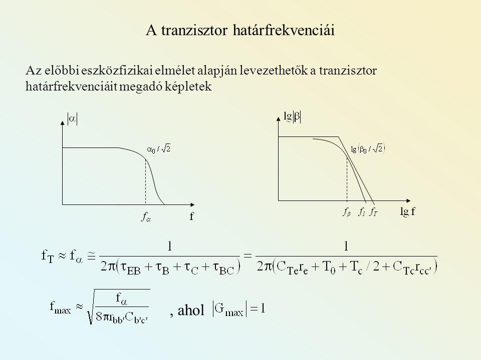 A tranzisztor határfrekvenciái Az előbbi eszközfizikai elmélet alapján levezethetők a tranzisztor határfrekvenciáit megadó képletek fTfT f1f1 ff ff