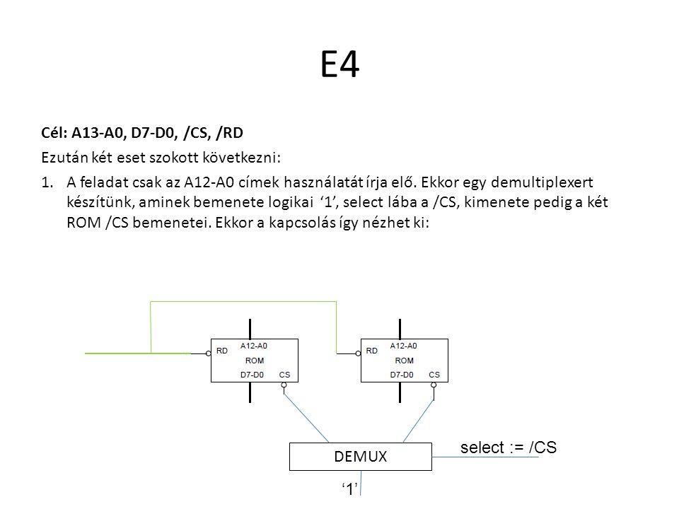 E4 Cél: A13-A0, D7-D0, /CS, /RD Ezután két eset szokott következni: 1.A feladat csak az A12-A0 címek használatát írja elő. Ekkor egy demultiplexert ké