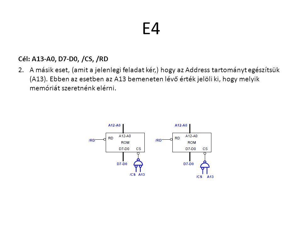 E4 Cél: A13-A0, D7-D0, /CS, /RD 2.A másik eset, (amit a jelenlegi feladat kér,) hogy az Address tartományt egészítsük (A13). Ebben az esetben az A13 b