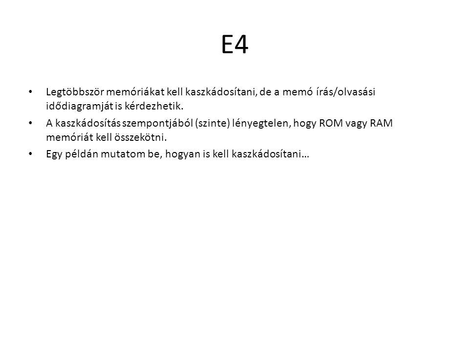 E4 Legtöbbször memóriákat kell kaszkádosítani, de a memó írás/olvasási idődiagramját is kérdezhetik. A kaszkádosítás szempontjából (szinte) lényegtele