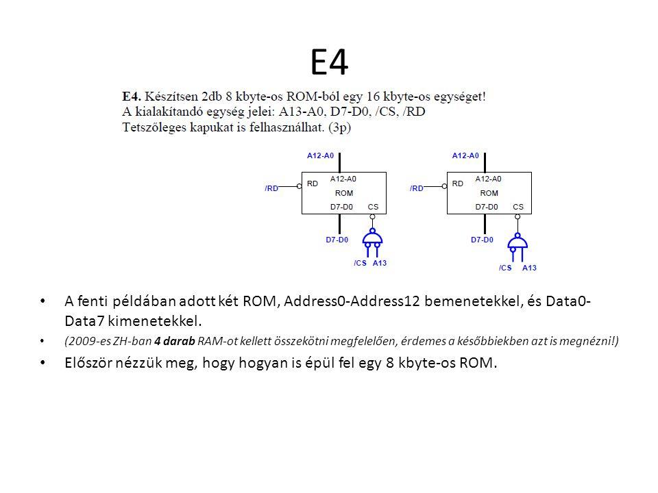 E4 A fenti példában adott két ROM, Address0-Address12 bemenetekkel, és Data0- Data7 kimenetekkel. (2009-es ZH-ban 4 darab RAM-ot kellett összekötni me