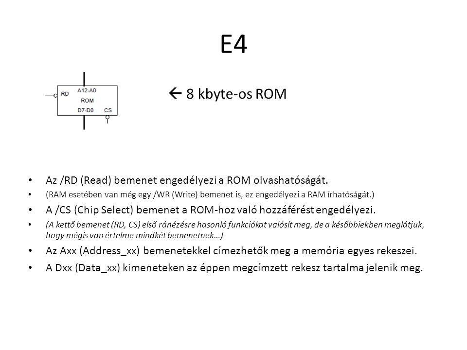 E4  8 kbyte-os ROM Rekesz felépítése  Ebből a felírásból már könnyen számítható a kapacitása: – rekeszenként 1 byte-ot tárol – 2^13 bittel címezhető == 8192 Vagyis: 8192*1 = 8192 byte = 8 kbyte.