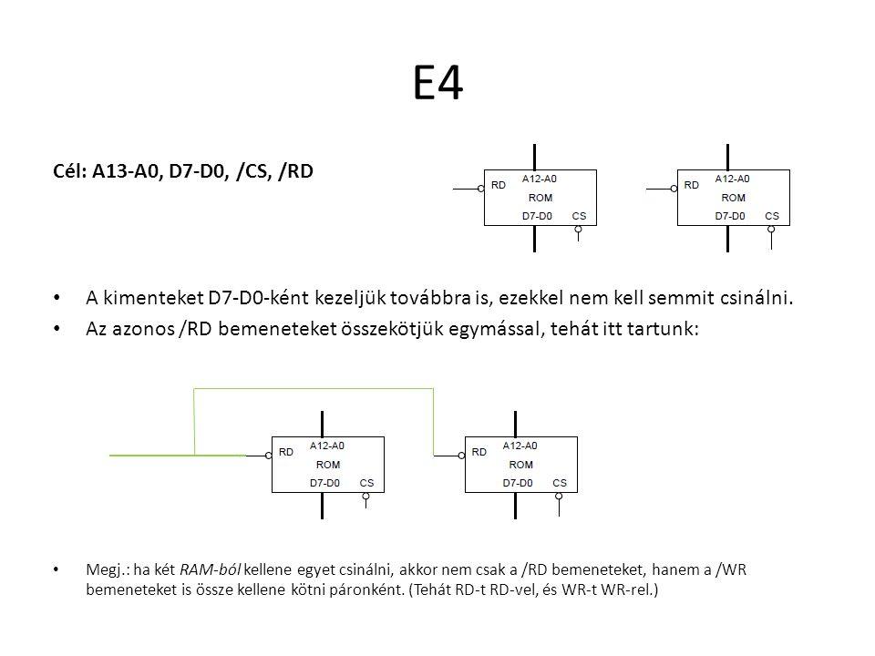 E4 Cél: A13-A0, D7-D0, /CS, /RD A kimenteket D7-D0-ként kezeljük továbbra is, ezekkel nem kell semmit csinálni. Az azonos /RD bemeneteket összekötjük