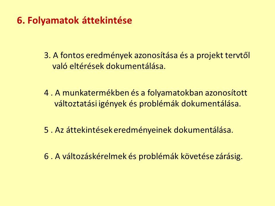 3. A fontos eredmények azonosítása és a projekt tervtől való eltérések dokumentálása. 4. A munkatermékben és a folyamatokban azonosított változtatási