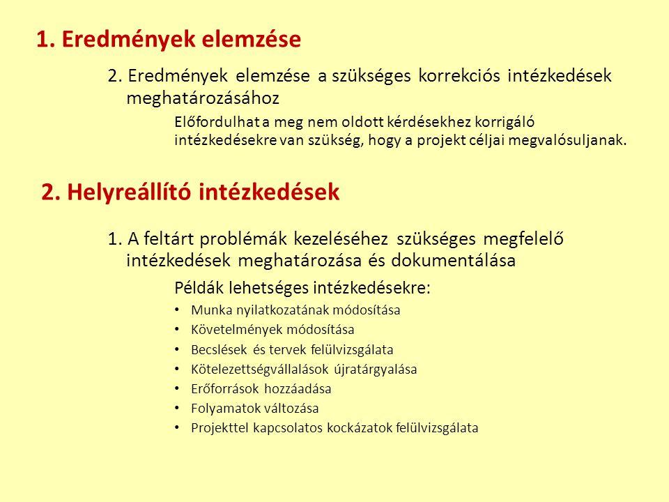 2. Eredmények elemzése a szükséges korrekciós intézkedések meghatározásához Előfordulhat a meg nem oldott kérdésekhez korrigáló intézkedésekre van szü