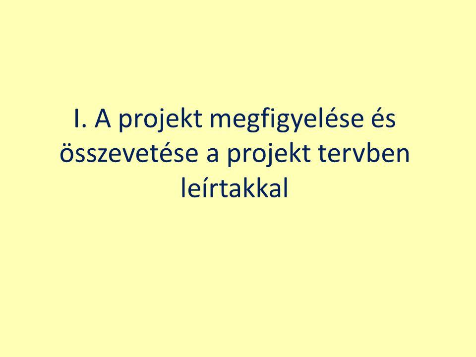 I. A projekt megfigyelése és összevetése a projekt tervben leírtakkal