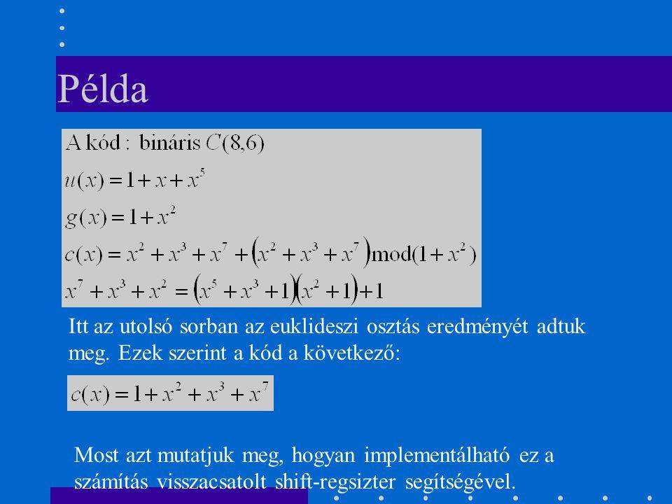 Példa Itt az utolsó sorban az euklideszi osztás eredményét adtuk meg.