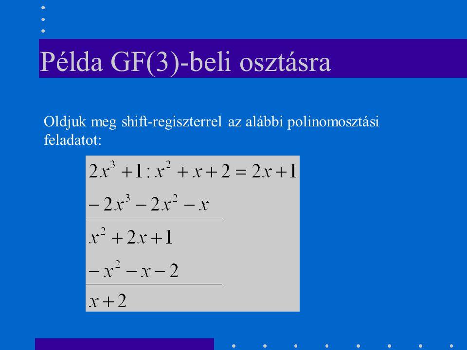 Példa GF(3)-beli osztásra Oldjuk meg shift-regiszterrel az alábbi polinomosztási feladatot: