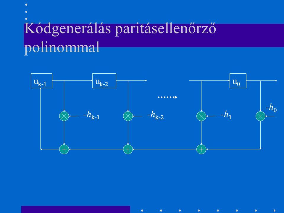 Kódgenerálás paritásellenőrző polinommal u k-2 -h k-1 -h k-2 u0u0 -h 1 u k-1 -h 0