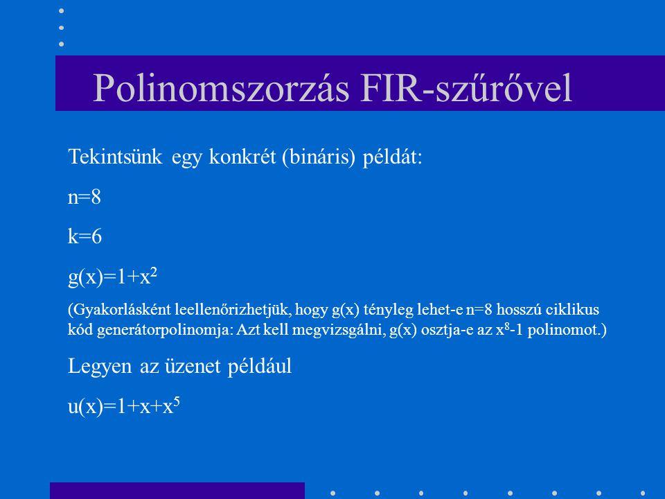 Polinomszorzás FIR-szűrővel Tekintsünk egy konkrét (bináris) példát: n=8 k=6 g(x)=1+x 2 (Gyakorlásként leellenőrizhetjük, hogy g(x) tényleg lehet-e n=