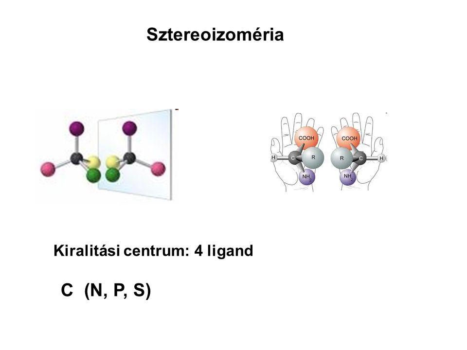 Sztereoizoméria Kiralitási centrum: 4 ligand C (N, P, S)
