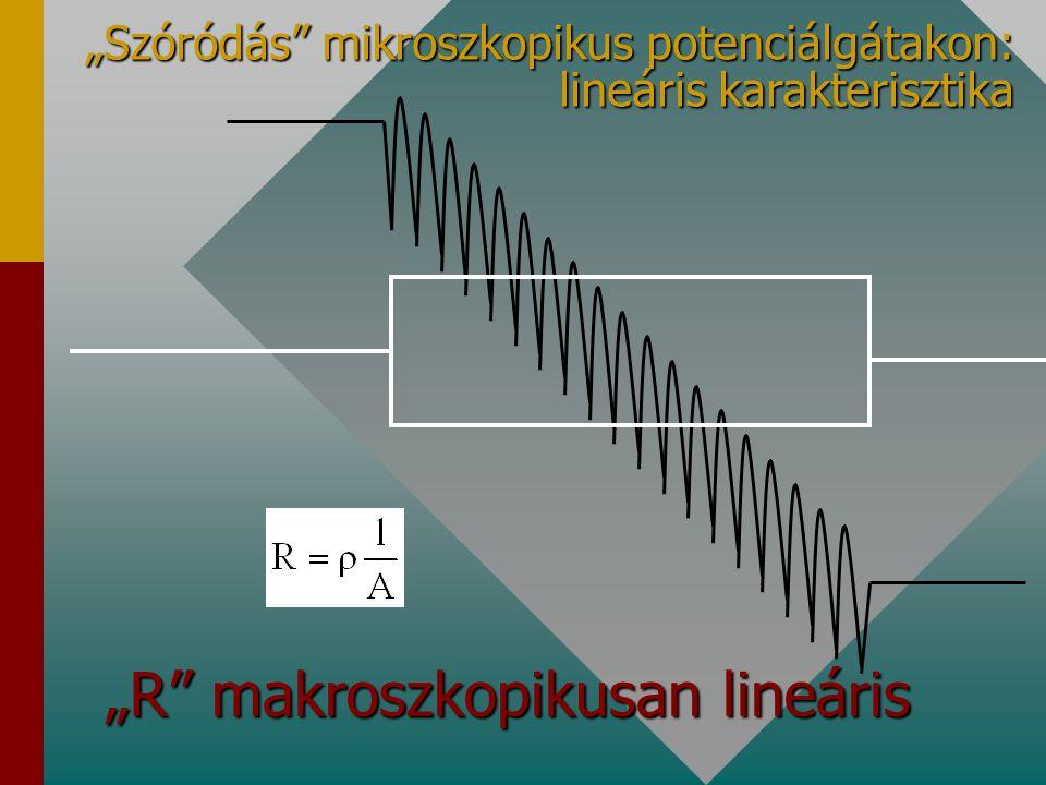 """""""R"""" makroszkopikusan lineáris """"Szóródás"""" mikroszkopikus potenciálgátakon: lineáris karakterisztika"""