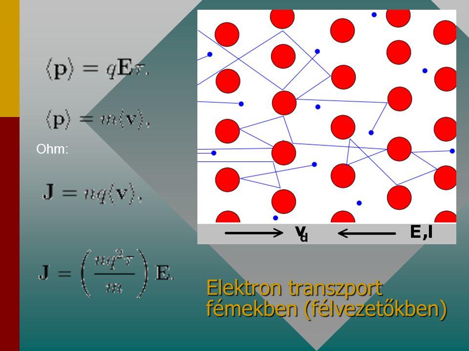 Elektron transzport fémekben (félvezetőkben) Ohm: