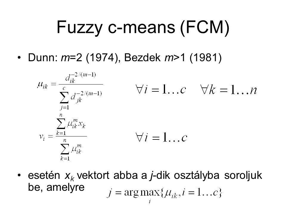 Fuzzy c-means (FCM) Dunn: m=2 (1974), Bezdek m>1 (1981) esetén x k vektort abba a j-dik osztályba soroljuk be, amelyre