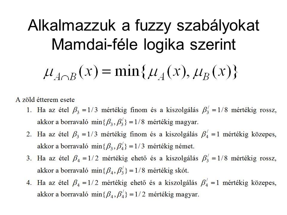 Alkalmazzuk a fuzzy szabályokat Mamdai-féle logika szerint