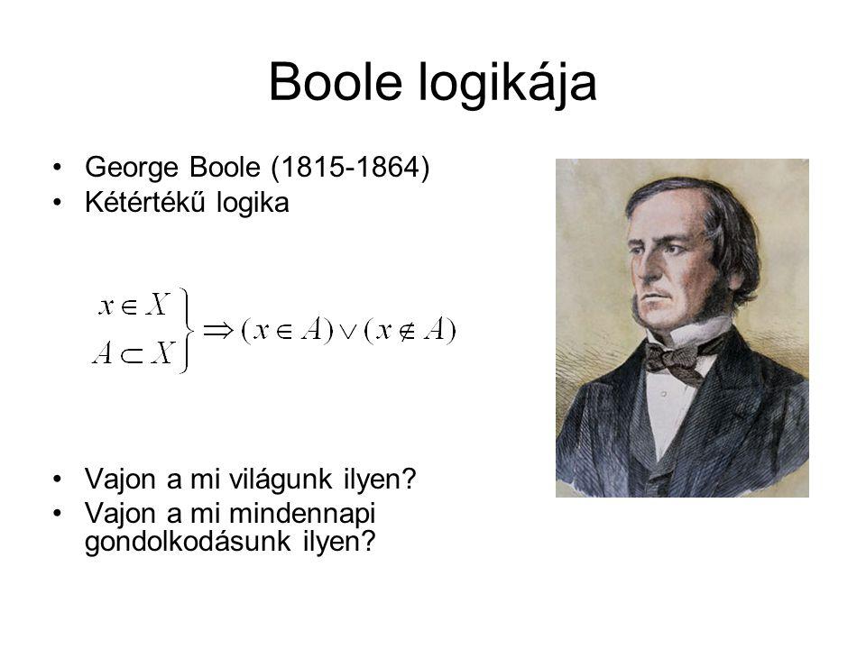 Boole logikája George Boole (1815-1864) Kétértékű logika Vajon a mi világunk ilyen? Vajon a mi mindennapi gondolkodásunk ilyen?