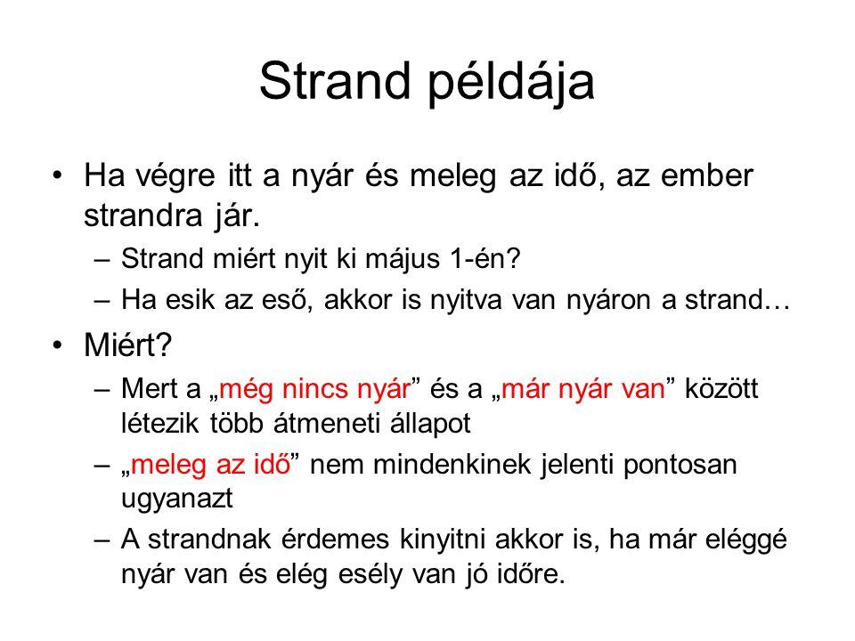 Strand példája Ha végre itt a nyár és meleg az idő, az ember strandra jár. –Strand miért nyit ki május 1-én? –Ha esik az eső, akkor is nyitva van nyár