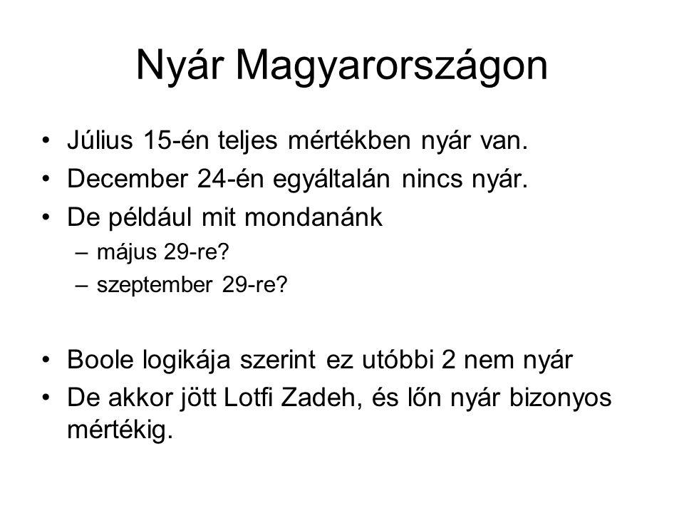 Nyár Magyarországon Július 15-én teljes mértékben nyár van. December 24-én egyáltalán nincs nyár. De például mit mondanánk –május 29-re? –szeptember 2