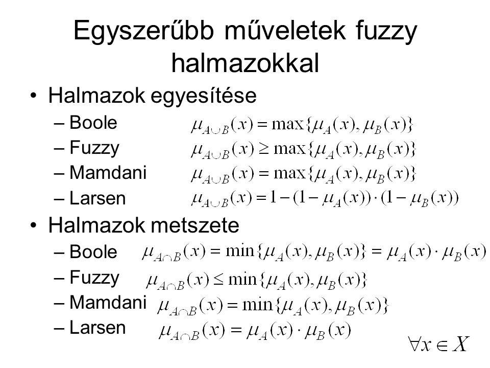 Partíció Boole logika szerint az X halmaz bármely x elemét be lehet sorolni egy és csakis egy A i részhalmazba Fuzzy logika megengedi, hogy bármely x elem több A i részhalmazhoz tartozzon, valamilyen mértékig