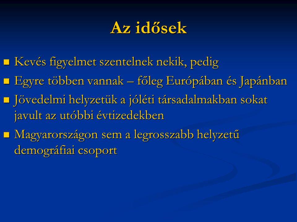 Az idősek Kevés figyelmet szentelnek nekik, pedig Kevés figyelmet szentelnek nekik, pedig Egyre többen vannak – főleg Európában és Japánban Egyre többen vannak – főleg Európában és Japánban Jövedelmi helyzetük a jóléti társadalmakban sokat javult az utóbbi évtizedekben Jövedelmi helyzetük a jóléti társadalmakban sokat javult az utóbbi évtizedekben Magyarországon sem a legrosszabb helyzetű demográfiai csoport Magyarországon sem a legrosszabb helyzetű demográfiai csoport