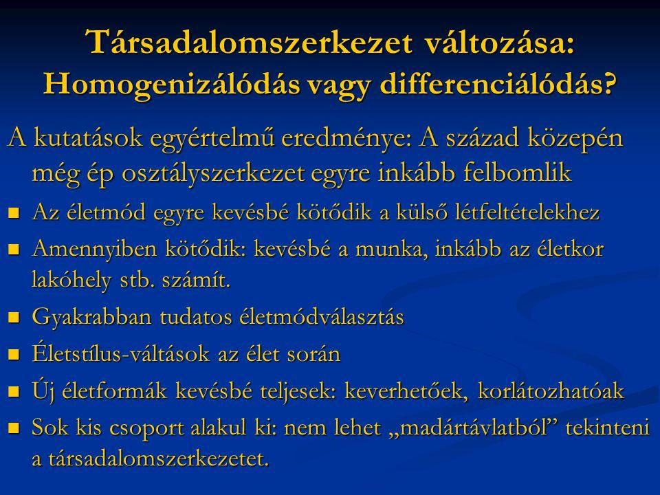 Társadalomszerkezet változása: Homogenizálódás vagy differenciálódás.