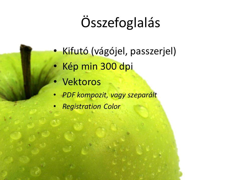 Összefoglalás Kifutó (vágójel, passzerjel) Kép min 300 dpi Vektoros PDF kompozit, vagy szeparált Registration Color