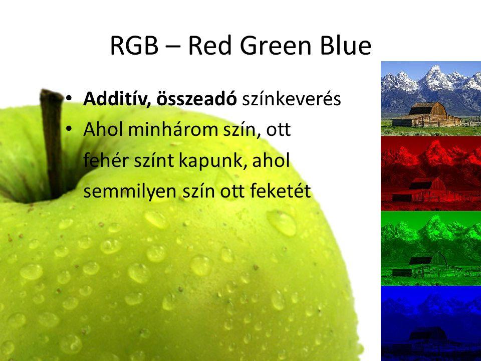 RGB – Red Green Blue Additív, összeadó színkeverés Ahol minhárom szín, ott fehér színt kapunk, ahol semmilyen szín ott feketét