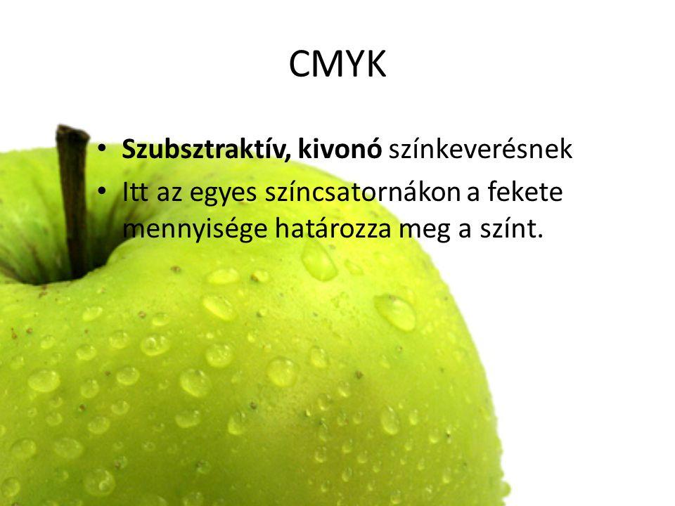 CMYK Szubsztraktív, kivonó színkeverésnek Itt az egyes színcsatornákon a fekete mennyisége határozza meg a színt.