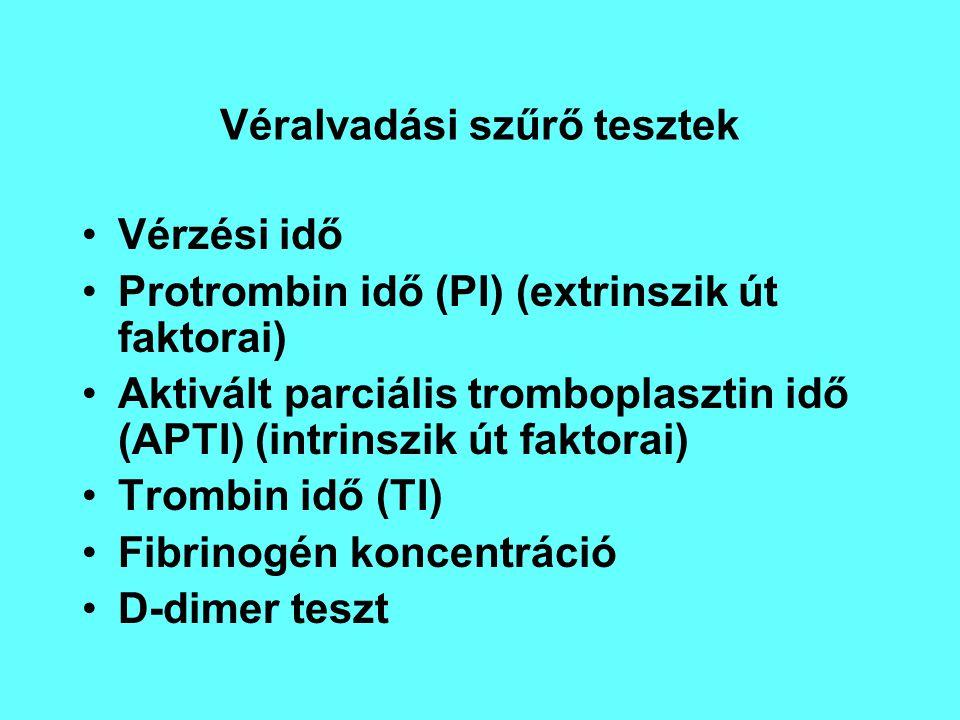 Véralvadási szűrő tesztek Vérzési idő Protrombin idő (PI) (extrinszik út faktorai) Aktivált parciális tromboplasztin idő (APTI) (intrinszik út faktora