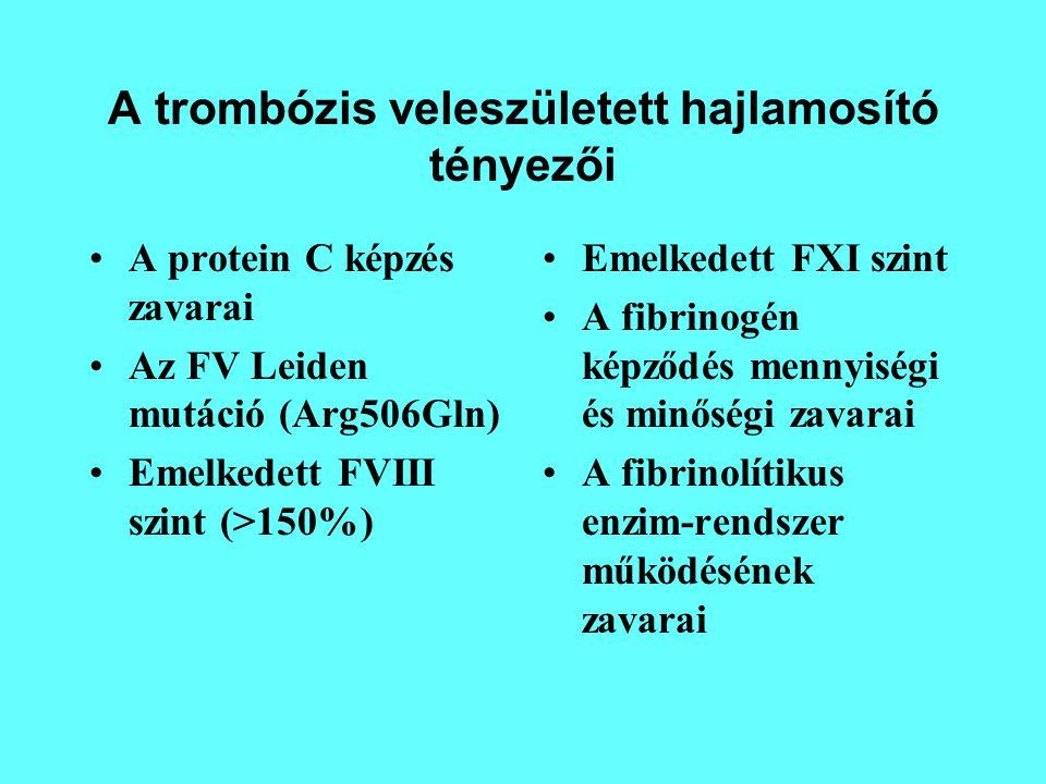 A trombózis veleszületett hajlamosító tényezői A protein C képzés zavarai Az FV Leiden mutáció (Arg506Gln) Emelkedett FVIII szint (>150%) Emelkedett F