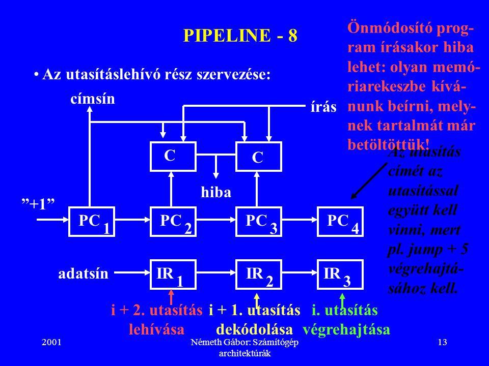 """2001Németh Gábor: Számítógép architektúrák 13 PIPELINE - 8 Az utasításlehívó rész szervezése: PC 2 """"+1"""" PC 1 címsín írás hiba C C adatsínIR 1 PC 3 IR"""