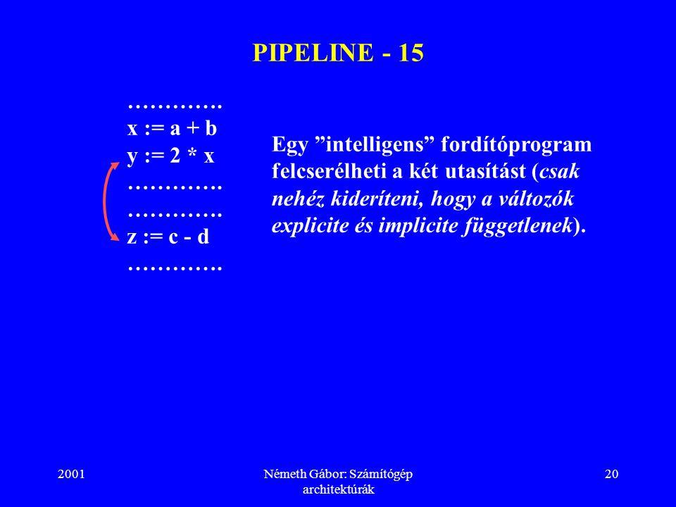 """2001Németh Gábor: Számítógép architektúrák 20 PIPELINE - 15 …………. x := a + b y := 2 * x …………. z := c - d …………. Egy """"intelligens"""" fordítóprogram felcse"""