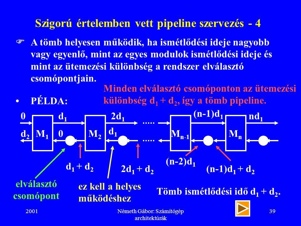 2001Németh Gábor: Számítógép architektúrák 39 Szigorú értelemben vett pipeline szervezés - 4  A tömb helyesen működik, ha ismétlődési ideje nagyobb vagy egyenlő, mint az egyes modulok ismétlődési ideje és mint az ütemezési különbség a rendszer elválasztó csomópontjain.