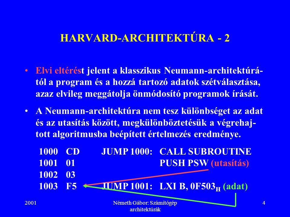 2001Németh Gábor: Számítógép architektúrák 4 HARVARD-ARCHITEKTÚRA - 2 Elvi eltérést jelent a klasszikus Neumann-architektúrá- tól a program és a hozzá tartozó adatok szétválasztása, azaz elvileg meggátolja önmódosító programok írását.