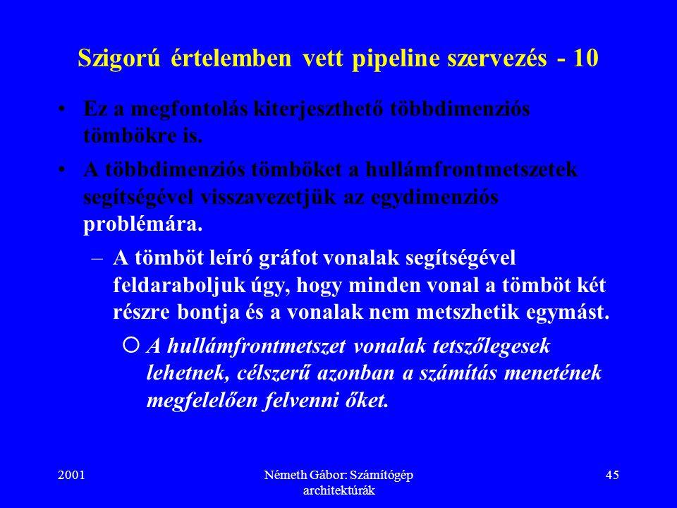 2001Németh Gábor: Számítógép architektúrák 45 Szigorú értelemben vett pipeline szervezés - 10 Ez a megfontolás kiterjeszthető többdimenziós tömbökre i