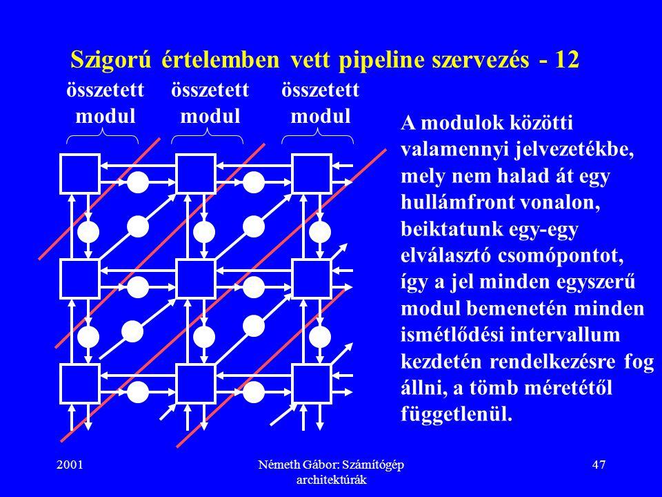 2001Németh Gábor: Számítógép architektúrák 47 Szigorú értelemben vett pipeline szervezés - 12 összetett modul A modulok közötti valamennyi jelvezetékbe, mely nem halad át egy hullámfront vonalon, beiktatunk egy-egy elválasztó csomópontot, így a jel minden egyszerű modul bemenetén minden ismétlődési intervallum kezdetén rendelkezésre fog állni, a tömb méretétől függetlenül.